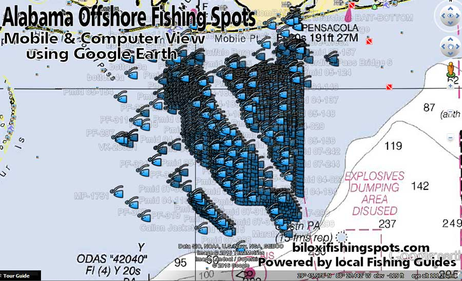 Alabama Offshore Fishing Spots Map