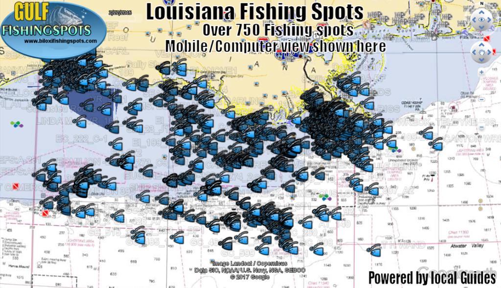 Louisiana Fishing Spots Map